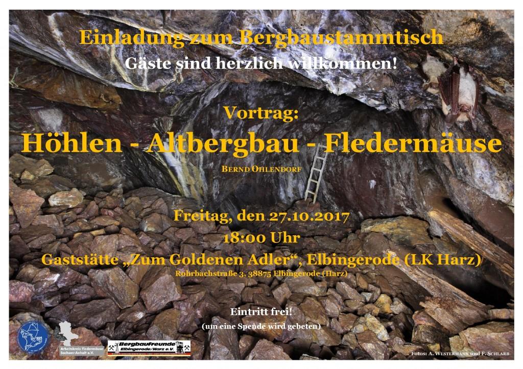 Plakat Vortrag Höhlen - Altbergbau - Fledermäuse